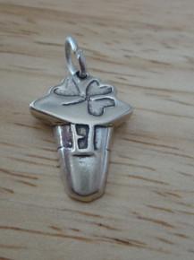 15x20mm Leprechaun Irish Hat with Shamrock Sterling Silver Charm