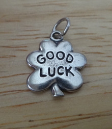 17x13mm 4 Four Leaf Clover says Good Luck Sterling Silver Charm