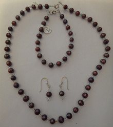 "17"" Sterling Silver Wine Burgundy Maroon Pearl Crystal Necklace & Earring Set"