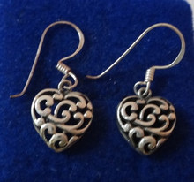 Small Cut Out Lace Heart Sterling Silver Wire Earrings