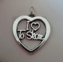 20x21mm Ice or Roller I Love to Skate Heart Sterling Silver Charm