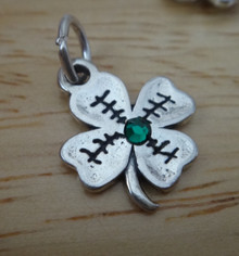 14x17mm Green Crystal in a 4 Four Leaf Clover Sterling Silver Charm