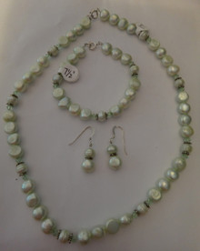 """17"""" Sterling Silver Light Green Pearl, Sterling, & Crystal Necklace & Earring Set"""