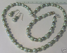 """17"""" Sterling Silver 2 Tone Olive & Light Green Pearl Necklace & Earring Set"""