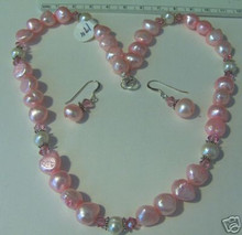 """17"""" Sterling Silver Light Pink Pearl & Crystal Necklace & Earring Set"""