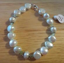 "7.5"" Light Green Fresh Water Pearl, Sterling & Crystal Sterling Silver Bracelet"