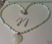 """17"""" Sterling Silver White Pearl & Blue Crystal Necklace & Earring Set with Mother of Pearl Rose Pendant"""