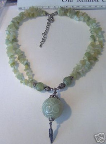 """16-18"""" Adjustable Sterling Silver double strand Aventurine beads & Pendant Necklace"""