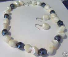 """16"""" Sterling Silver Chunky size White Shell & Hematite Necklace & Earring Set"""