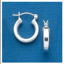 Sterling Silver 17 mm Diameter 3.5 mm thick Hoop Earrings