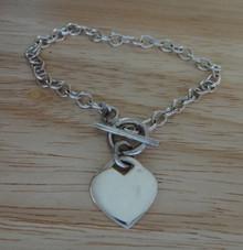 "7"" Sm 10g Oval Link Sterling Silver Sm Heart Charm Bracelet"