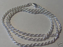 """18"""" 20"""" or 24"""" 2 mm Rope Sterling Silver Chain for Men or Women"""