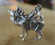 3D 15x17mm Realistic Bugling Elk Deer Sterling Silver Charm