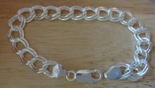 """8"""" Heavy Double Link 9 mm 16 gram Sterling Silver Charm Bracelet"""
