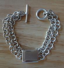 "7"" Heavy 29 gram 7 mm Rolo Link Double Strand Sterling Silver Charm Bracelet"