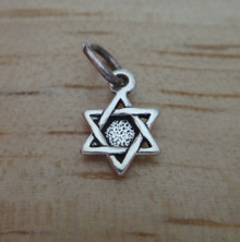 Tiny 10x7mm Solid Star of David Sterling Silver Charm