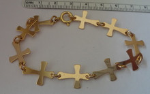 "7.5"" Sterling Silver Shaped 10 Cross Link Bracelet"
