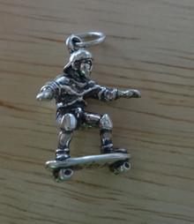3D 17x20mm Skateboarder Sterling Silver Charm