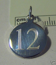 15mm Engraveable Number 12 Sterling Silver Charm