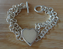 "7"" 7 mm Hvy 29 gram Rolo Double Strand Sterling Silver Charm Bracelet"