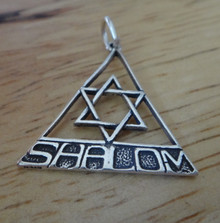 22x22mm Triangle with Star of David says Shalom Sterling Silver Charm
