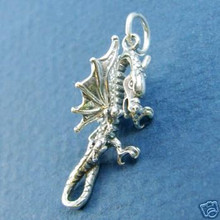 3D 10x24mm Scary Winged Dragon Sterling Silver Charm