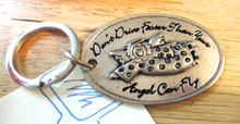 Pewter Whimsical Oval says Don't Drive Faster than Your Angel can Fly Keychain Keyring