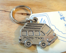 Pewter Mom's Van says Mom's Taxi on Keychain Keyring