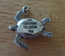 23x26mm 5g Sea Turtle says Cayman Islands Sterling Silver Charm