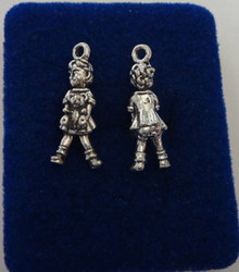 Little Girl Carrying a Teddy Bear Sterling Silver Charm