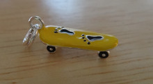 Yellow Enamel Skateboard decorated with Feet Sterling Silver Charm