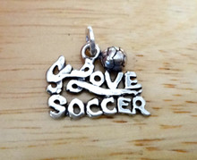 18x13mm I Love Soccer with Ball Sterling Silver Charm
