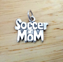 16x12mm Small Solid says Soccer Mom Sterling Silver Charm