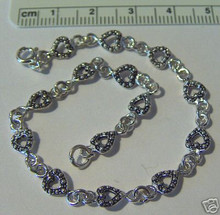 """7.5"""" Tiny Heart Link Sterling Silver Bracelet"""
