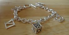 "7.5"" Sterling Silver Roman Numeral Time 30 gram Charm Bracelet"