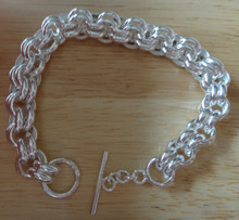 "7.5"" XHeavy 30-32gram 9 mm Double Rolo Toggle Sterling Silver Bracelet"