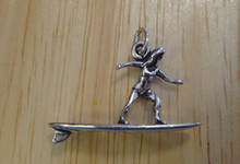 Girl Surfing on Surfboard Surfer Sterling Silver Charm