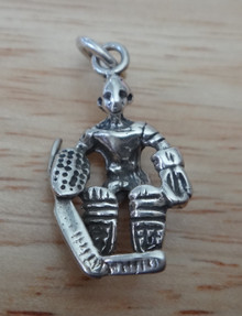 13x23mm 3D Goalie Hockey Player Sterling Silver Charm