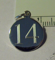 15mm Engraveable Number 14 Sterling Silver Charm