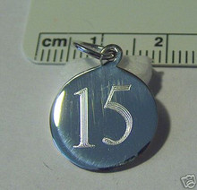 15mm Engraveable Number 15 Sterling Silver Charm