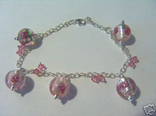 """50% off Adjustable to 7"""" to 8.5"""" Sterling Silver Pink Glass with Roses Charm Bracelet"""