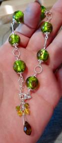 """Adjustable for 7"""" to 9"""" Sterling Silver Green Glass Bead & Swarovski Crystal Bracelet"""