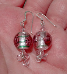 Pink Glass Bead with Pink Rose & Crystal Sterling Silver Earring