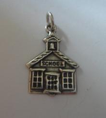 Lg School House says School Sterling Silver Charm