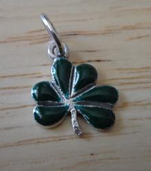 13x16mm Green Enamel Shamrock Irish Sterling Silver Charm