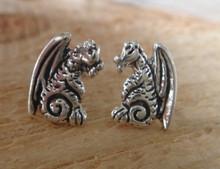 Cute 12x8mm Dragon Stud Sterling Silver Earrings