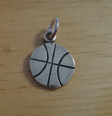 13mm Flat detailed Basketball Sterling Silver Charm