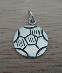 14mm Flat detailed Soccer Ball Sterling Silver Charm