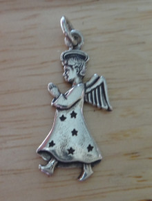 27x12mm Praying Angel and Halo Sterling Silver Charm