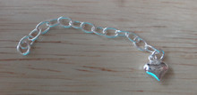 4.5 cm Puffy Heart Sterling Silver Extension Bracelet Chain